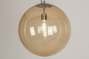 pendant light 73467 sale modern retro glass soft yellow stainless steel metal yellow steel gray round