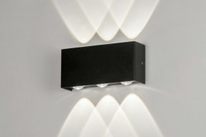 wall lamp 73477 modern aluminium metal black matt oblong rectangular