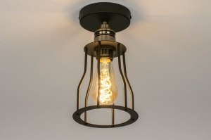 ceiling lamp 73493 industrial look rustic modern contemporary classical metal black matt brass round
