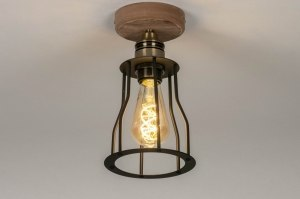 ceiling lamp 73494 industrial look rustic modern wood brass sanded metal black matt matt brass round