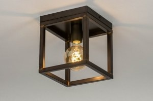ceiling lamp 73499 industrial look modern raw metal oldmetal black brown oldmetal square