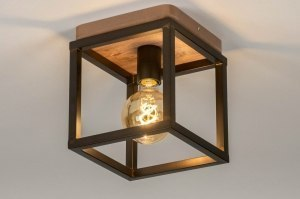 ceiling lamp 73500 industrial look rustic modern wood metal oldmetal black brown oldmetal square