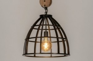 pendant light 73501 industrial look rustic modern raw wood metal black oldmetal round
