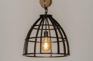 hanglamp 73501 industrie look landelijk rustiek modern stoer raw hout metaal zwart oldmetal (gunmetal) rond