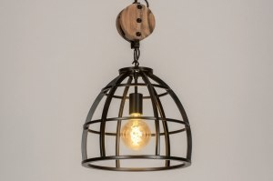 pendant light 73502 industrial look rustic modern raw wood metal black oldmetal round