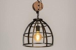 hanglamp 73502 industrie look landelijk rustiek modern stoer raw hout metaal zwart oldmetal (gunmetal) rond