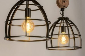 pendant light 73503 industrial look rustic modern raw wood metal oldmetal black oldmetal round oblong