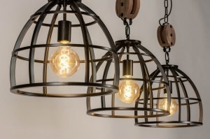 pendant light 73504 industrial look rustic modern raw wood metal oldmetal black oldmetal round oblong