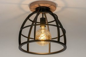 ceiling lamp 73505 industrial look rustic modern raw wood metal black matt oldmetal round