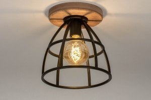 ceiling lamp 73506 industrial look rustic modern wood metal oldmetal black round