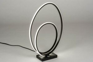 table lamp 73533 designer modern metal black matt oval
