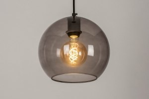 pendant light 73539 modern retro art deco glass metal black matt round
