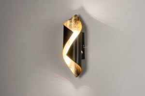 wall lamp 73541 modern metal black gold oblong
