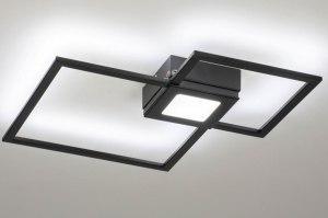 plafondlamp 73550 modern metaal zwart mat vierkant