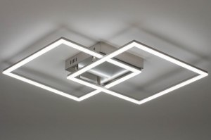 plafondlamp 73568 modern staal rvs metaal staalgrijs vierkant
