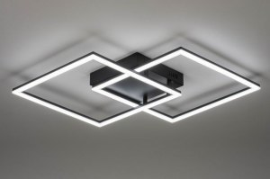 ceiling lamp 73569 modern metal black matt square