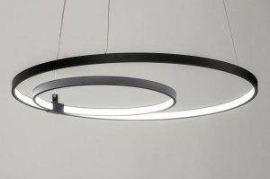 pendant light 73570 designer modern aluminium metal black matt round