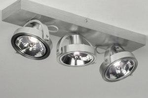 plafondlamp 73574 modern aluminium geschuurd aluminium aluminium rond rechthoekig