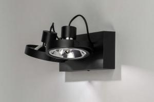 Lampara de techo 73579 Moderno Aluminio Negro Mate Redonda Rectangular