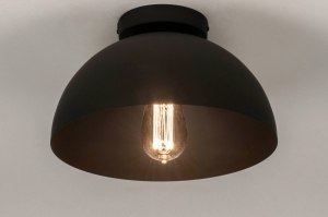 ceiling lamp 73583 industrial look modern metal black matt round