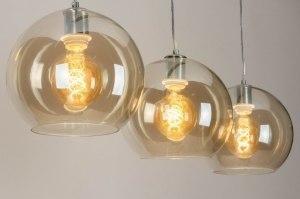hanglamp 73590 modern glas zacht geel staal rvs staalgrijs rond langwerpig