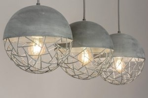 suspension 73591 rural rustique moderne acier gris beton oblongue