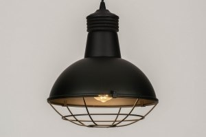 pendant light 73592 industrial look modern metal black matt round