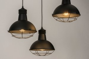 pendant light 73593 industrial look modern metal black matt round
