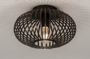 plafondlamp 73606 landelijk rustiek modern eigentijds klassiek metaal roest bruin brons bruin rond