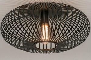 ceiling lamp 73608 industrial look rustic modern retro metal black matt round