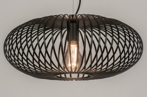 pendant light 73609 rustic modern retro metal black matt round