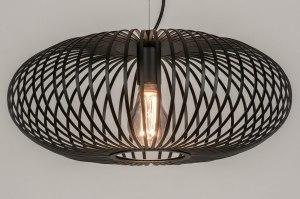 hanglamp 73609 landelijk rustiek modern retro metaal zwart mat rond
