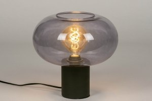 table lamp 73623 modern retro art deco glass metal black matt grey round