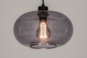 pendant light 73626 sale modern retro art deco glass metal black matt grey round