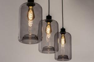 hanglamp 73629 modern retro glas metaal zwart mat grijs langwerpig