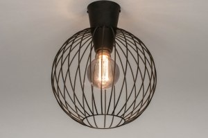 ceiling lamp 73632 modern retro metal black matt round