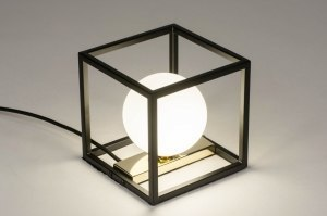Tischleuchte 73636 modern Retro zeitgemaess klassisch Art deco Glas mit Opalglas Metall schwarz matt weiss Gold viereckig
