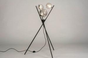 lampadaire 73637 soldes moderne retro art deco verre acier noir mat