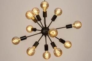 hanglamp 73638 modern retro art deco metaal zwart mat rond