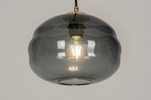 hanglamp 73640 modern retro eigentijds klassiek art deco glas zwart mat grijs blauw messing rond