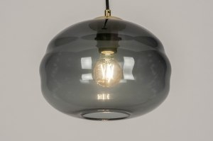 hanglamp 73640 sale modern retro eigentijds klassiek art deco glas zwart mat goud messing rond