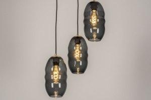 hanglamp 73641 sale modern retro eigentijds klassiek art deco glas messing geschuurd zwart mat goud messing rond
