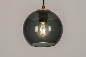 hanglamp 73642 modern retro eigentijds klassiek art deco glas zwart mat grijs blauw messing rond