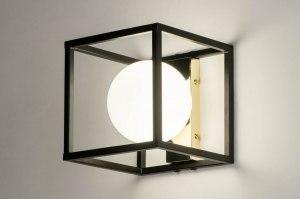 Wandleuchte 73643 modern Retro Art deco Glas mit Opalglas Metall schwarz matt weiss Gold viereckig