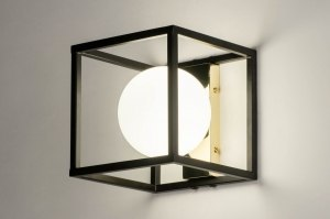 wandlamp 73643 sale modern retro art deco glas wit opaalglas metaal zwart mat wit goud vierkant
