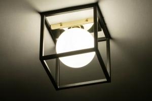 wandlamp 73643 modern retro art deco glas wit opaalglas metaal zwart mat wit goud vierkant
