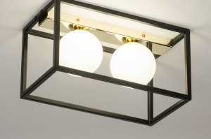ceiling lamp 73644 modern retro contemporary classical art deco glass white opal glass metal black matt white gold rectangular