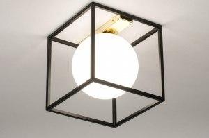 Deckenleuchte 73645 modern Retro zeitgemaess klassisch Art deco Glas mit Opalglas Metall schwarz matt Gold viereckig