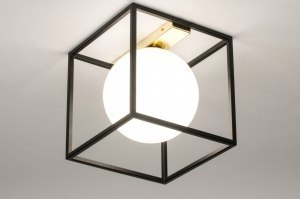 plafondlamp 73645 modern retro eigentijds klassiek art deco glas wit opaalglas metaal zwart mat goud vierkant