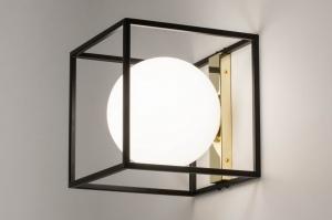 plafonnier 73645 moderne retro classique contemporain art deco verre verre opale blanc acier noir mat or carre